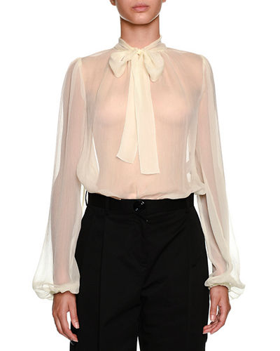 Dolce & Gabbana Bow-Neck Long-Sleeve Silk Chiffon Blouse