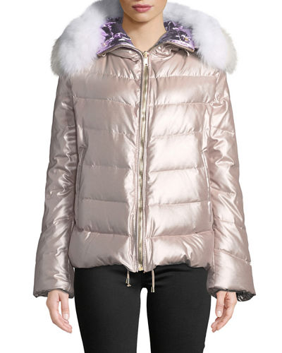 Reversible Fox-Fur Hood Quilted Puffer Apres-Ski Jacket
