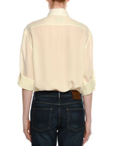 Light-Washed Twill Button-Front Blouse