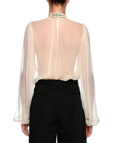 Bow-Neck Long-Sleeve Silk Chiffon Blouse