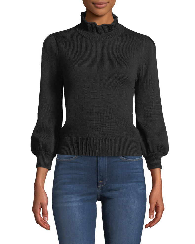 Co Ruffled Turtleneck Long-Sleeve Wool Sweater