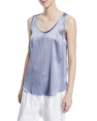 Brunello Cucinelli Reversible Silk-Stretch Scoop-Neck Tank Top