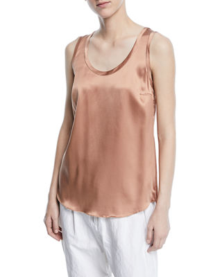 Brunello Cucinelli Silk-Stretch Reversible Scoop-Neck Tank Top