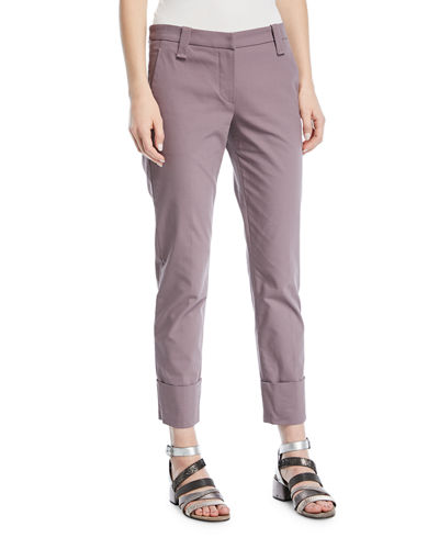 Straight-Leg Crop Barrel-Cuff Cotton Twill Pants