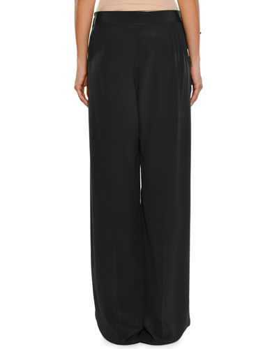 Apron-Front Wide-Leg Silk Crepe De Chine Pants