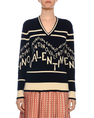 V Neck Chevron Logo Wool Cashmere Sweater by Valentino