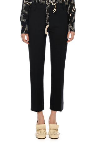 Valentino Straight-Leg Crepe Ankle Pants