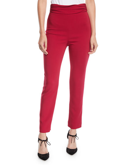CUSHNIE Ruched-Waist Fitted Skinny-Leg Liquid Cady Pants