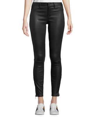 NOUR HAMMOUR Mid-Rise Cropped Skinny Lambskin Leather Jeans in Black