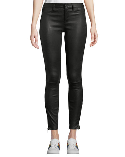 Mid-Rise Cropped Skinny Lambskin Leather Jeans
