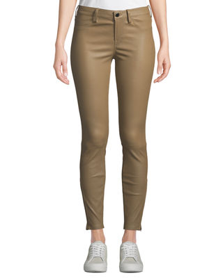 NOUR HAMMOUR Mid-Rise Cropped Skinny Lambskin Leather Jeans in Beige