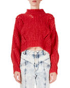 Isabel Marant Irren Mock-Neck Cropped Chunky-Knit Sweater and