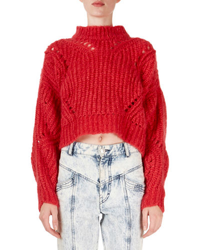 Irren Mock-Neck Cropped Chunky-Knit Sweater