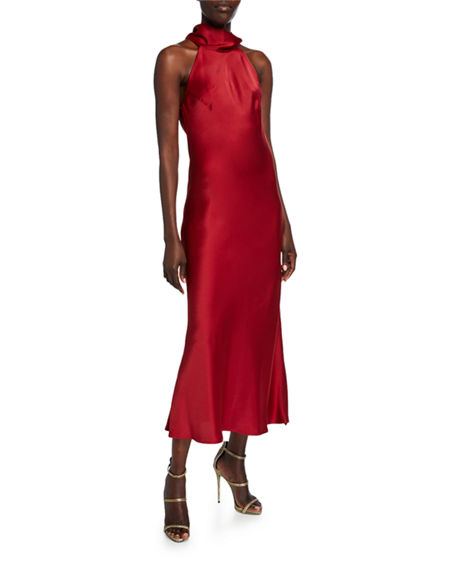 Galvan Sienna Sleeveless Satin Turtleneck Bow-Back Dress