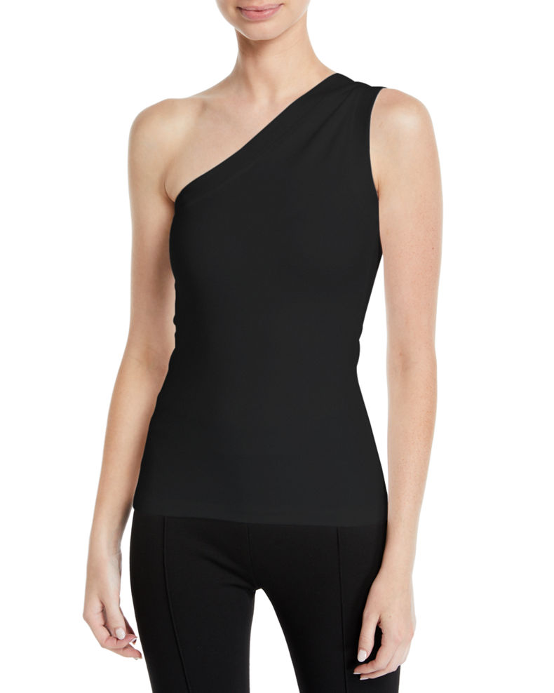 Rosetta Getty One-Shoulder Fitted Interlock Jersey Tank