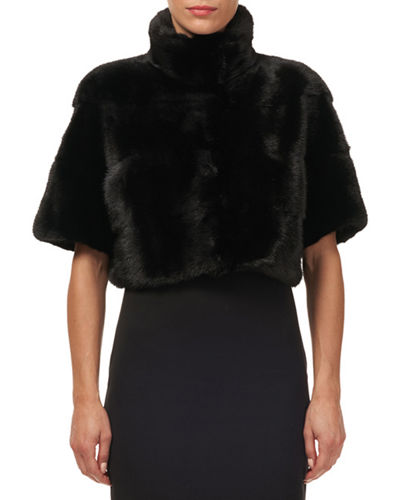 Horizontal Mink-Fur Bolero Jacket
