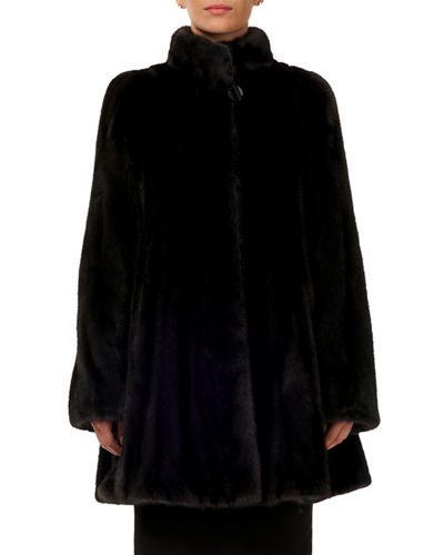 Mink Fur Stroller Coat w/ Skirt Bottom