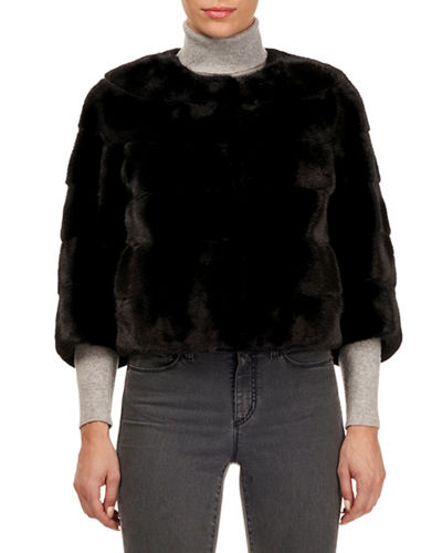 Horizontal Mink Fur 3/4-Sleeve Collarless Jacket