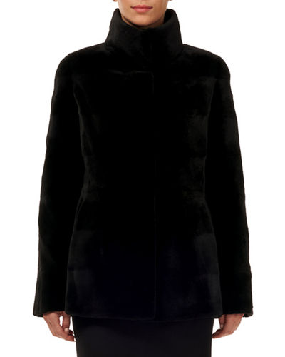 Reversible Horizontal Sheared Mink Silk Taffeta Jacket