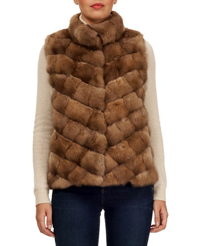 Sable Fur Chevron Intarsia Vest w/ Stand Collar