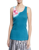 CALVIN KLEIN 205W39NYC Scoop-Neck Sand-Dollar Print Tank Top