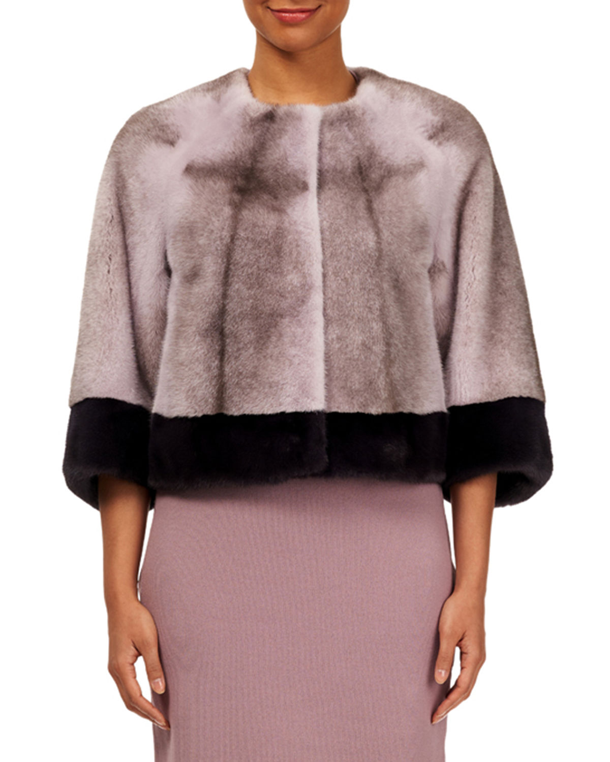 Cross Mink Cropped Jacket w/ Contrast Cuff and Bottom