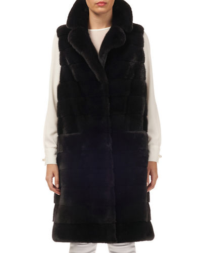Horizontal Mink Mid-Length Vest w/ Belt
