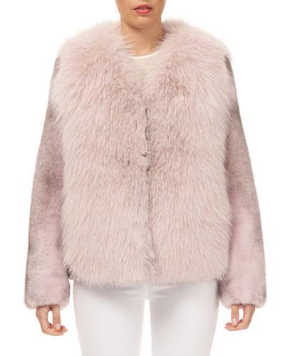 Fox-Fur Jacket w/ Mink-Fur Sleeves