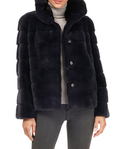 Horizontal Stripe Mink-Fur Jacket w/ Chinchilla-Fur Collar