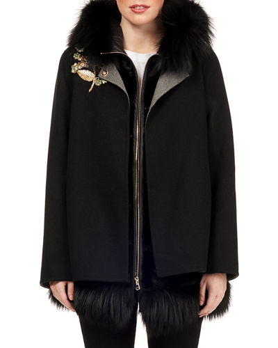 Quilted Mink Fur Vest with Fox Hood