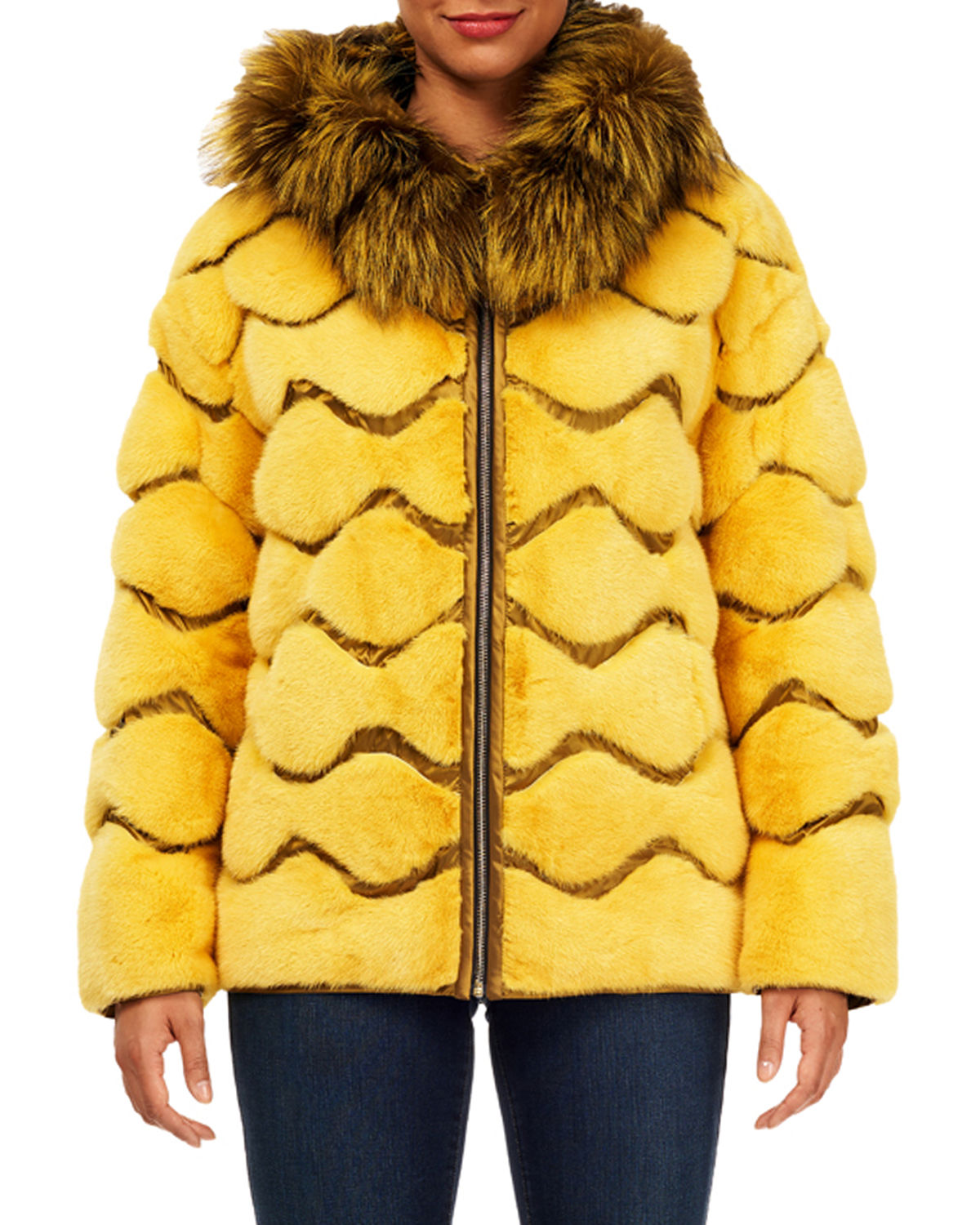 Wave Quilted Reversible Mink-Fur Jacket w/ For-Fur Hood