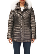 Gorski Zip-Front Quilted Puffer Apres-Ski Jacket w/ Detachable