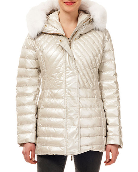 Gorski Zip-Front Quilted Puffer Apres-Ski Jacket w/ Detachable Fox Hood Trim