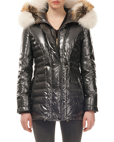 Fur-Hood Zip-Front Quilted Puffer Apres-Ski Jacket w/ Ribbed Cuffs
