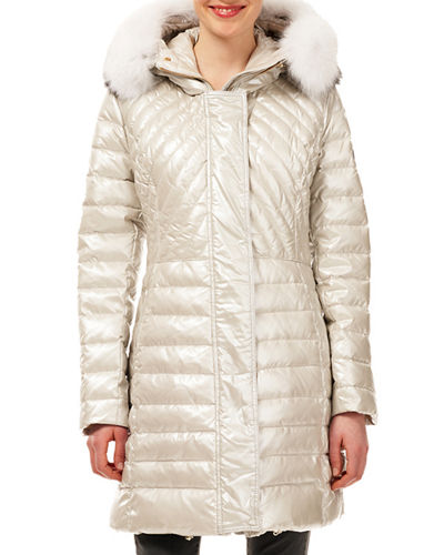 Quilted Puffer Ski Jacket w/ Detachable Fox-Fur Trim