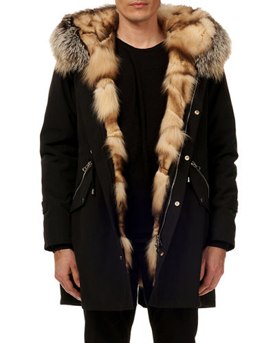 Men's Fox-Lined Parka Coat w/ Detachable Hood
