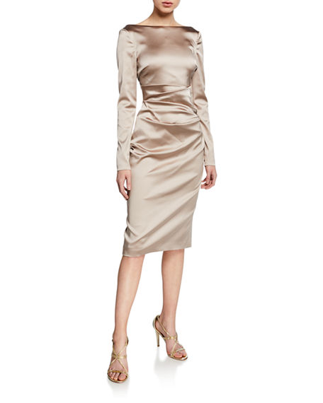 Talbot Runhof Long-Sleeve Ruched Satin Cocktail Dress