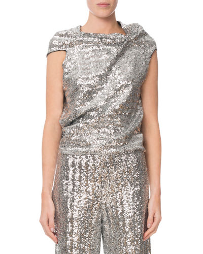 Eugene Sequined Draped Tie-Back Top