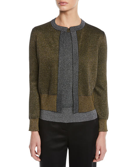 Escada Open-Front Metallic-Knit Cardigan