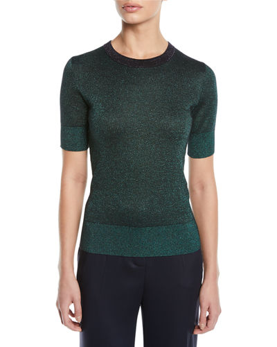 Round-Neck Short-Sleeve Metallic-Knit Pullover Top