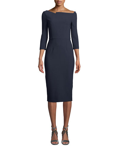 Witham 3/4-Sleeve Asymmetric Boat-Neck Dress