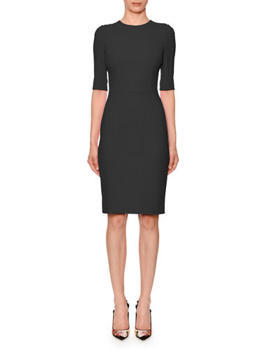 Half-Sleeve Jewel-Neck Sheath Dress