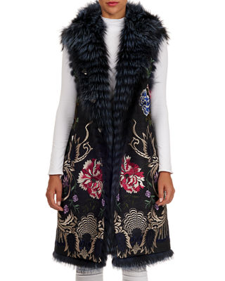 GIANFRANCO FERRE Reversible Embroidered Fox-Fur Vest in Blue