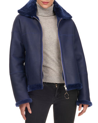 CHRISTIA Shearling Fur Zip-Front Jacket in Blue