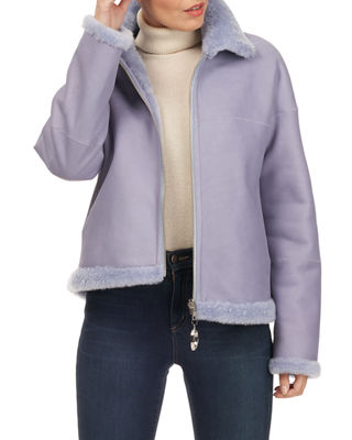 CHRISTIA Shearling Fur Zip-Front Jacket in Light Blue