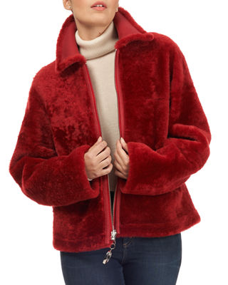 CHRISTIA Shearling Fur Zip-Front Jacket in Red