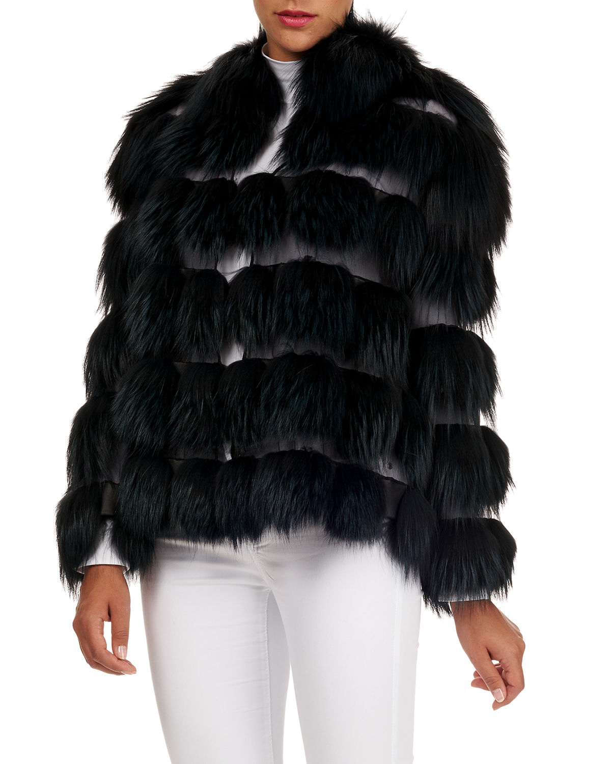 Fox-Fur Jacket with Organza Inserts