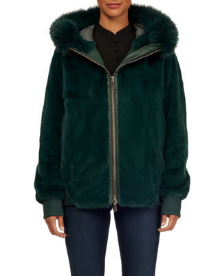 MAURIZIO BRASCHI Zip-Front Mink Fur Bomber Jacket W/ Fox Fur Trim in Green