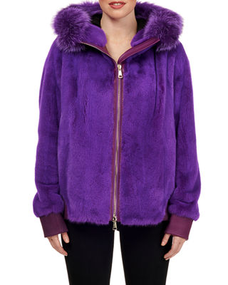 Zip-Front Mink Fur Bomber Jacket W/ Fox Fur Trim, Purple