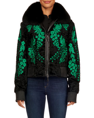 MAURIZIO BRASCHI Floral-Embroidered Swakara Zip-Front Bomber Jacket in Black/Green